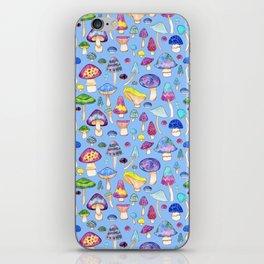 Watercolor Mushroom Pattern on Blue iPhone Skin