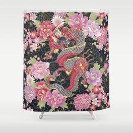 JAPANESE DRAGON & FLORAL KIMONO PRINT Shower Curtain