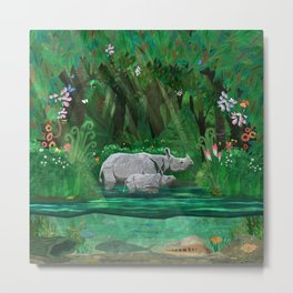 Rhinoceros mom and cub Metal Print