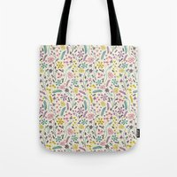 candy Tote Bags featuring Retro Blooms (Candy) by Anna Deegan