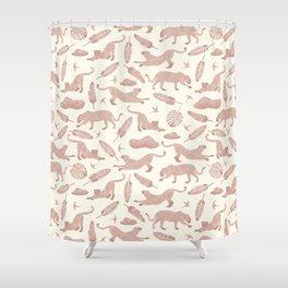 Blush Safari / Wild Cats, Monstera and Birds Shower Curtain