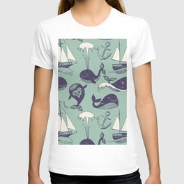 Pattern with marine motifs. Yachts, funny whales, carefree sunny voyage. T-shirt