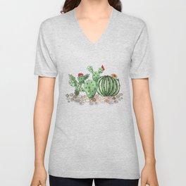 Cactus watercolor illustration Unisex V-Neck