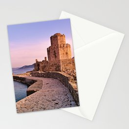 Medieval tower at sunset time, Methoni, Greece. Stationery Cards