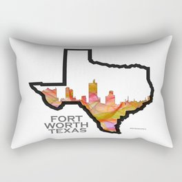 Texas State Map with Fort Worth Skyline Rectangular Pillow