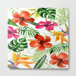 Tropical watercolor flowers pattern Metal Print