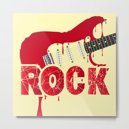 Melting Electric Rock Guitar Metal Print