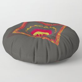 Pata Patterns in Red & Yellow on Black Floor Pillow