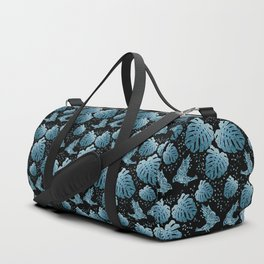 Tropical mosaic design with monstera leaves and birds in blue Duffle Bag