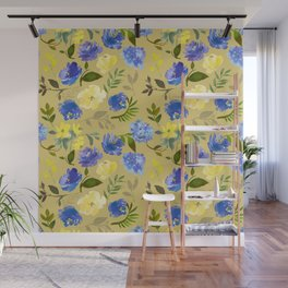 Modern lilac yellow green watercolor hand painted floral Wall Mural