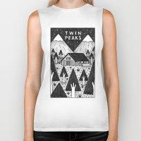 twin peaks Biker Tanks featuring Twin Peaks by Ana Albero