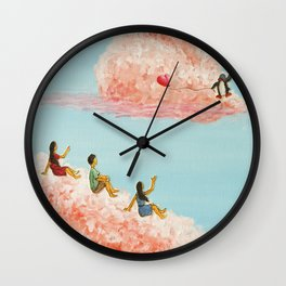 3 children gazing at passing clouds Wall Clock