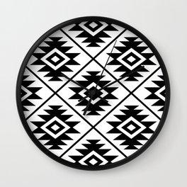 Aztec Symbol Pattern Black on White Wall Clock