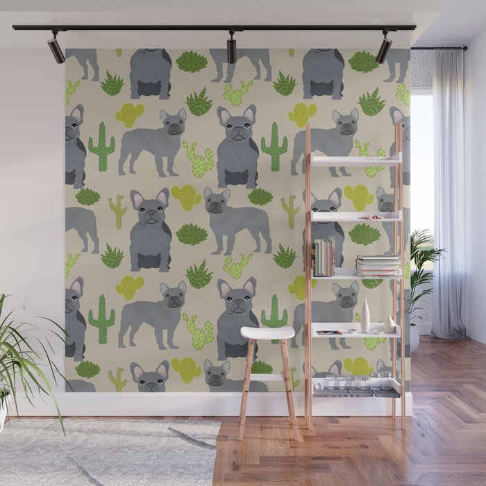 Frenchie french bulldog grey cactus desert southwest dog breed by pet friendly Wall Mural