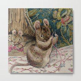 THE MICE AT WORK THREADING THE NEEDLE_Beatrix Potter English children 's writer and illustrator (1866-1943) Metal Print