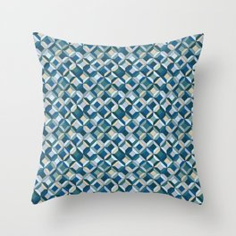 colorful geometric diamonds ocean colors Throw Pillow