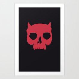 RED DEMON SKULL Art Print