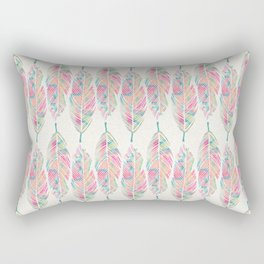 Tribal Feathers Girly Pink Teal Watercolor Pattern Rectangular Pillow