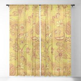 Botanicals in Mustard Yellow Sheer Curtain