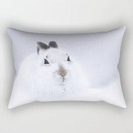 White mountain hare on white snow Rectangular Pillow