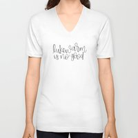 roald dahl V-neck T-shirts featuring Lukewarm Is No Good by Rad & Happy