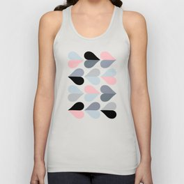 Love and Kisses in Pink and Grey Unisex Tank Top