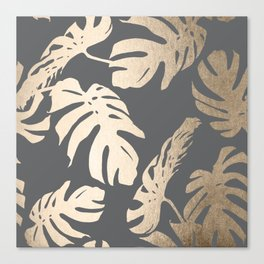 Simply Tropical Palm Leaves White Gold Sands on Storm Gray Canvas Print