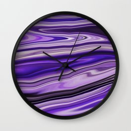 Purple Waves Abstract Art, Digital Fluid Artwork Wall Clock