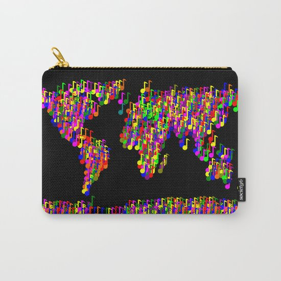 World Map Music Notes Carry-All Pouch