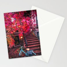 New York City Brooklyn Bicycle and Autumn Foliage Stationery Cards