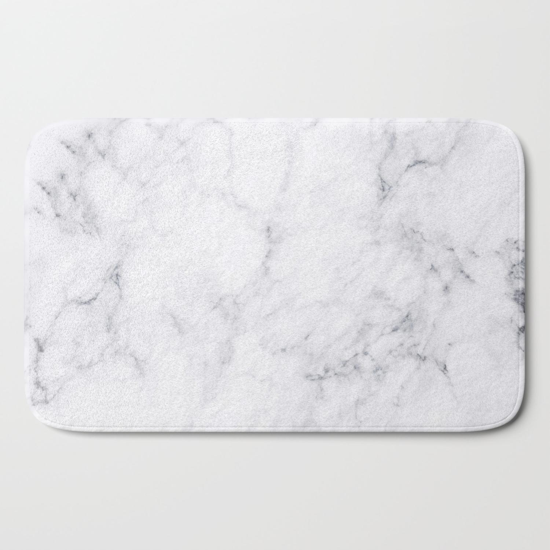 Luxury White Marble Bath Mat By Artonwear Society6