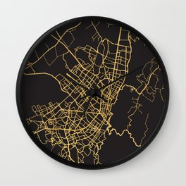 BOGOTA COLOMBIA GOLD ON BLACK CITY MAP Wall Clock