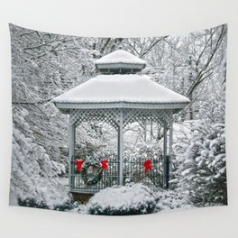 Gazebo in the Snow Wall Tapestry