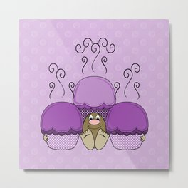 Cute Monster With Purple Frosted Cupcakes Metal Print