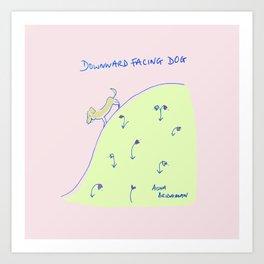 Downward facing dog yoga drawing Art Print