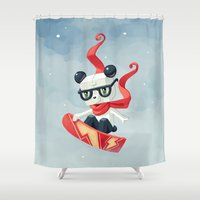 snowboarding Shower Curtains featuring Snowboarding by Freeminds