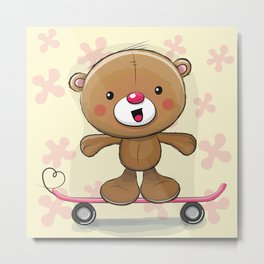 Teddy Bear Skateboard Metal Print