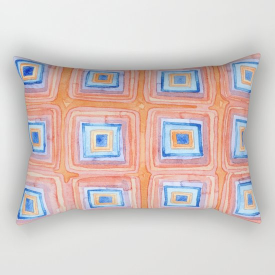 Twelve Red and Blue Melted Together Squares Rectangular Pillow