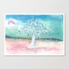 White Tree Illustration Art Canvas Print