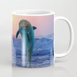 Dolphins at sunrise Coffee Mug