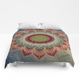 Retro Folk Art - Spirit Lotus Mandala Blue Red Comforters