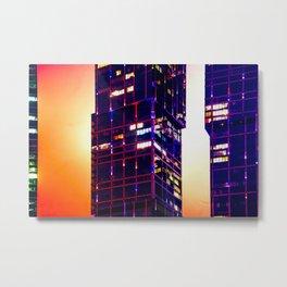 Dark Tall Buildings Abstract Metal Print