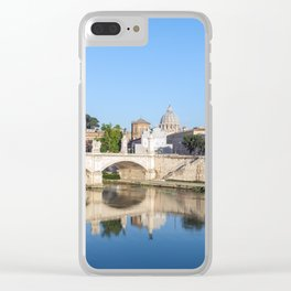 Emanuele II bridge and St. Peter's Basilica - Rome, Italy Clear iPhone Case