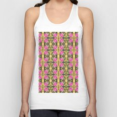 Pink roses with golden stripes pattern Unisex Tank Top