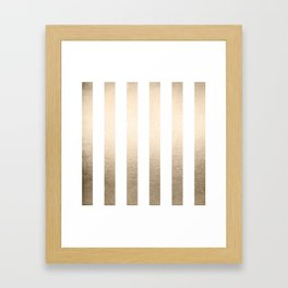 Simply Vertical Stripes in White Gold Sands Framed Art Print