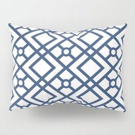 Modern Geometric Diamonds and Circles Pattern Navy Blue and White Pillow Sham