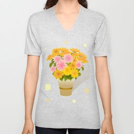 Bouquet of asters Unisex V-Neck