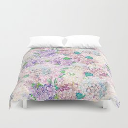 Pastel Purple and blue Lilac & Hydrangea - Flower Design Duvet Cover