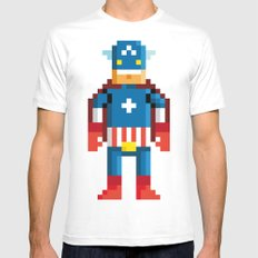 Pixelman America White Mens Fitted Tee MEDIUM