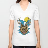beer V-neck T-shirts featuring Beer by Travis Butchart